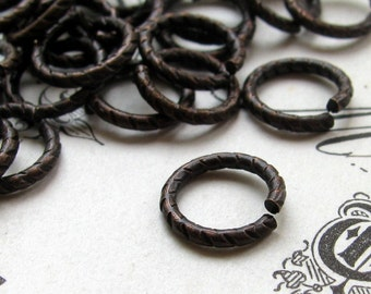 9mm etched jump ring - black antiqued brass  (20 rings) 9mm jump ring, 18 gauge, black jumpring, brass jump ring