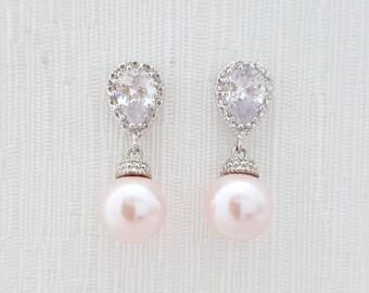 Blush Pink Wedding Pearl Earrings Crystal Pearl Bridal Earrings Bridesmaid Earrings Pink Swarovski Pearl Jewelry Blush Wedding, Rose