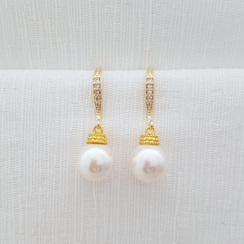 gold pearl earrings bridal dangle earrings pearl by