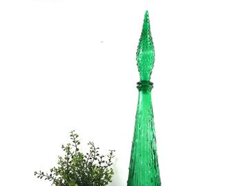 vintage 60s green glass decanter genie bottle finial empoli italian italy decorative home decor mid century modern retro art artwork tall