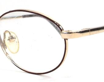 vintage 90s deadstock eyeglasses chestnut brown red wine oval gold metal frames eye glasses eyewear smart simple classic traditional new 125