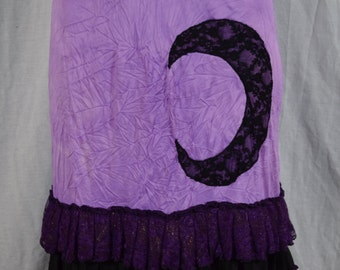Lavender & Black Lace Moon Up-Cycled Slip Skirt