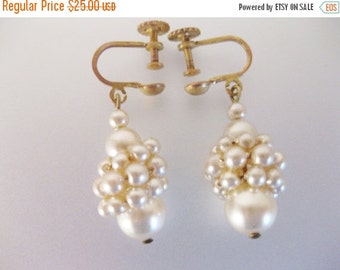 ON SALE Gorgeous 1930's Vintage Wired Faux Pearl Dangling Earrings