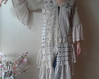 Shabby Chic doily jacket Romantic Vintage crochet doilies Kaftan One of a kind clothing Women's Coat
