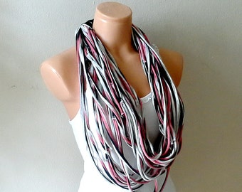 T shirt necklace scarf, Tshirt scarf necklace, Multistrands necklace, fabric jewelry, textile necklace, infinity scarf necklace