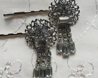 Vintage Rhinestone Hair Pins Bobby Pins Bridesmaid Wedding Prom Art Deco Silver Doodaba