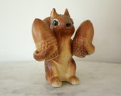 Vintage Tilso Hand Painted Japan  Brown Squirrel Holding Acorn  Salt and Pepper Shakers