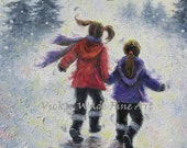 Snow Play Two Sisters Original Oil Painting 11X14 wall art, winter, playing, two girls, holding hands, best friends, Vickie Wade Art