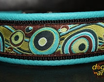 Handmade Easy Release Aluminum Buckle Leather Dog Collar BUBBLES by dogs-art in teal/black/bubbles forest