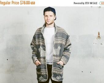 SALE . Vintage AZTEC Coat . Men's 80s Southwestern Blanket 90s Jacket Woven 1980s Navajo Print Hippie Button Up Parka Coat . Medium Large