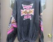 1980s Vintage Hazelwood Exclusive Southwestern, Blouse, Shirt, Fringe,  silvertone conch sz 2xlarge