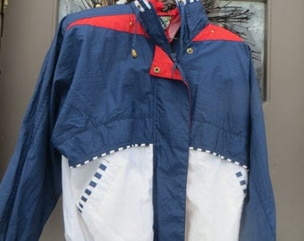 VINTAGE  hipster 80s River edge red white blue nylon windbreaker jacket sz med