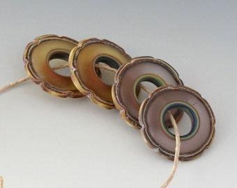 Rustic Ruffle Discs - (4) Handmade Lampwork Beads - Amber, Violet