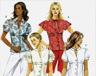Butterick 4985 Flirty Women's blouse with gathered or frilly sleeves