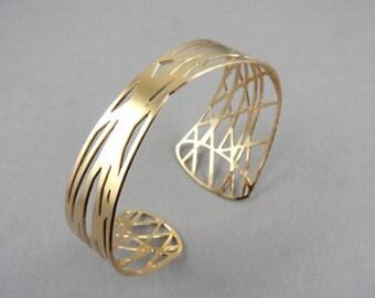 Twist bracelet, woven bracelet, gold cuff