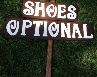 shoe optional sign / rustic wedding signs / beach wedding / wedding decorations / wedding signage / beach party / ceremony sign / reception