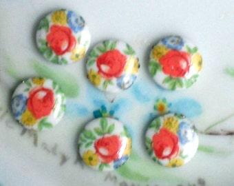 Vintage Cabochons Limoges Cabs Roses Japan Pink Rose NOS 10mm Round purpleviolets77 N1508