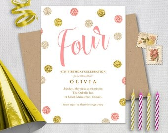 Pink and Gold 4th Birthday Invitation /  Pink Gold Glitter FOUR / PRINTABLE INVITATION /  184p