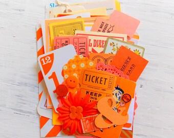 Vintage Ephemera Pack / Orange / Junk Journal / 50 Pieces / Pocket Letters / Tags / Labels / Paper Ephemera