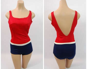1960s Red White and Blue Swimsuit - 60s One Piece Swimsuit - size 34 // 60s Bathing Suit