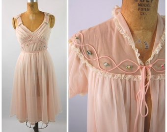 1950s Gotham Pink Peignoir Set - Pink Floral Nightgown and Dressing Jacket - 50s Peignoir - Size Small