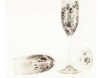 Hand Painted Wedding Toast Flutes - Modern Silver and Black Roses Set of 2 Personalized  - Champagne Toasting Glasses 25th Anniversary Gifts