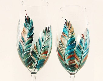 Hand-Painted Champagne Toasting Flutes - Southwest Feathers Turquoise Silver Copper Rust Set of 2 - Wedding Flutes Champagne au Mariage