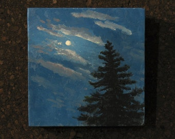 """Moon painting,  small oil painting, 6""""x6"""" gallery wrap canvas"""