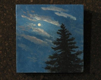 "Small oil painting, Moon and Pine Tree, 6""x6"" gallery wrap canvas"