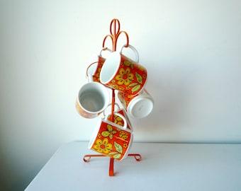Retro Coffee Mugs, Vintage Tea Cups, Metal Cup Tree, SALE