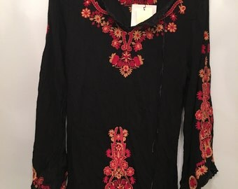 Vintage Deadstock Black  Bohemian Rayon Tunic •  Free Size