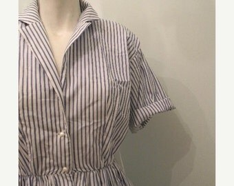 ON SALE vintage. Cynthia Rowley Cotton Blue Candy Striped Dress // XS S
