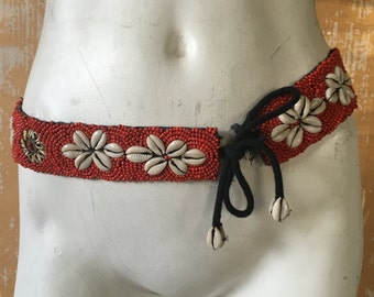 vintage. 70s Handmade Tribal Beaded Belt // High Waist Belt // Boho