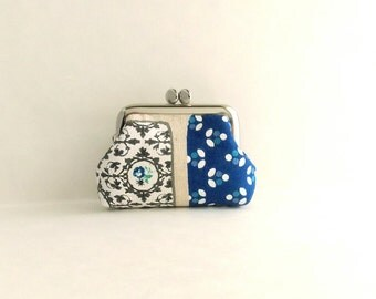 Blue Masking Tape Coin Purse Frame Mini Pouch Mini Jewelry Case with Ring Pillow