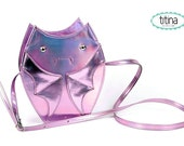 mirrored holographic pink bat cross body purse