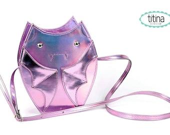 mirrored holographic pink bat cross body purse