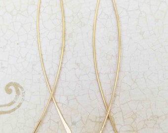 Long Narrow Fish Hoop Earrings, Delicate Fish Threaders, 14k Yellow Gold Hoops, Long Dangle Earrings, Christian Jewelry, Modern Jewelry