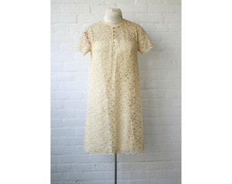 HALF OFF SALE 1960s Mod Lace Overlay Babydoll Dress