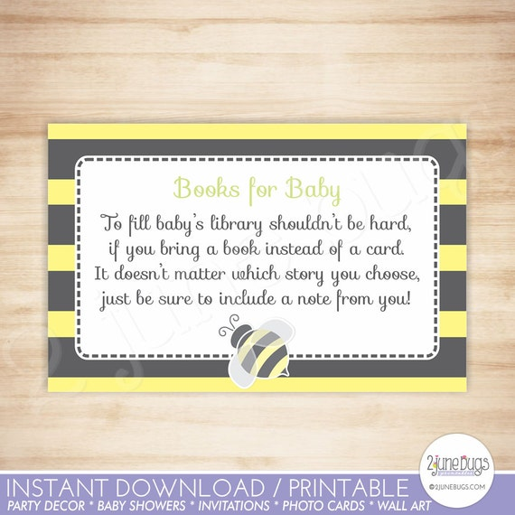 Bumblebee Baby Shower Book Request Cards Bee Baby Shower