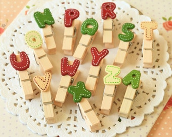 Colorful Alphabet Pegs Letter Clips