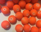 10mm Neon Orange Rubberized Beads - Acrylic Bracelet Beads Matte - 30 Beads
