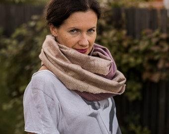 Felted wool scarf women silk infinity scarf natural dyed organic raw silk gold scarf beige wrap neck warmer purple merino wool round scarf