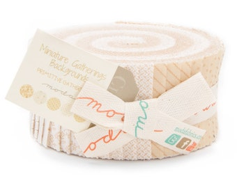 BACKGROUNDS Neutral Jelly Roll MINIATURE GATHERINGS Moda precut Primitive cotton fabric modern quilting sewing maker 2.5 inch fabric strips