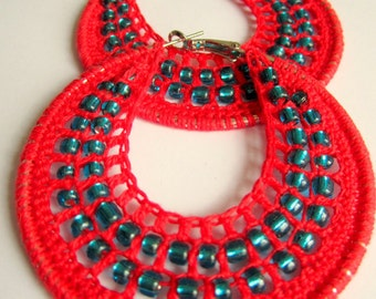 Crochet hoops with beads in Red