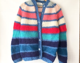 1960s Mohair Sweater Cardigan Made ITALY Striped Pink Blue Chunky Knit