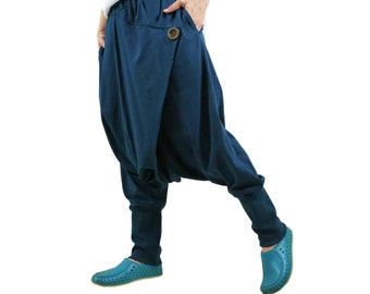 Women Men Pants - Drop Crotch Dark Teal Green Cotton Jersey Pants With 2 Side Pockets And Elastic Waist Band
