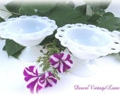 2 Scalloped Edged Milk Glass Dishes Vintage for Candy, Trinkets, Desserts SMALL Size Compote Dishes