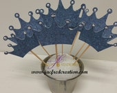 denim and pearls crown cupcake toppers