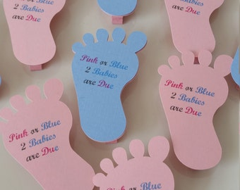Awesome Footprints Name Tags For Baby Shower. Gender Revealed Babyshower