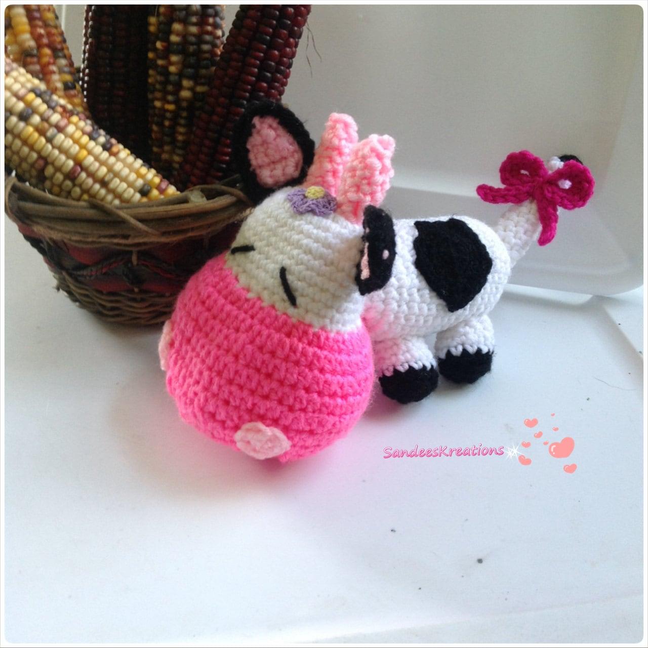 Amigurumi Horns : Crochet Cow Amigurumi Cow with Horns Bedroom Decor Plush